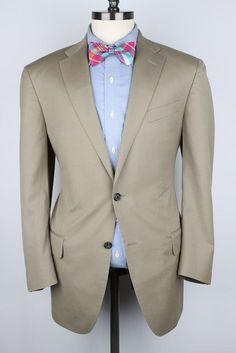 SUMMERTIME Faconnable Khaki Beige Super 110s Wool 42 R mens Sport Coat Blazer #Faconnable #TwoButton