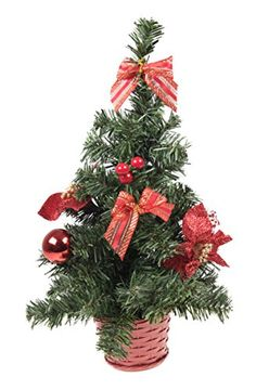 Small Artificial Christmas Tree with Red Bows and Ornaments  16 Tall >>> You can get additional details at the image link.