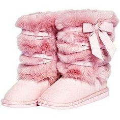 Furry Pink UGGs With Bow