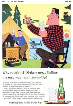 For those who can't go camping without their liquor supply. Use 7UP for a quick Collins! (1950s)