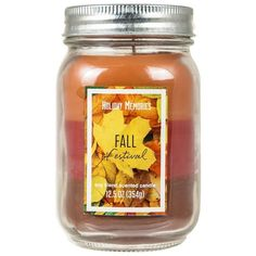 Holiday Memories Fall Festival 12.5-oz. Tri-Pour Candle Jar (81.540 IDR) ❤ liked on Polyvore featuring home, home decor, candles & candleholders, fillers, accessories, backgrounds, candles, decor, multicolor and autumn scented candles