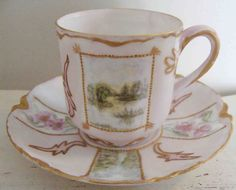 Circa 1890s Exquisite Haviland Limoges Hand Painted Scenic Porcelain Demitasse Cup and Saucer Adorned With Enamel Dotting.