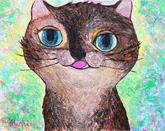 tortoiseshellcat-サビ猫 中尾道也 Cat Paintings, Space Cat, My Works, Bird, Cats, Animals, Fictional Characters, Gatos, Animales