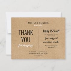 Simple Rustic Thank You For Shopping Discount Card Photo Thank You Cards, Thank You For Purchasing, Personalized Tags, Gift Certificates, Marketing Materials, Christmas Card Holders, Hand Sanitizer, Business Card Design, Keep It Cleaner
