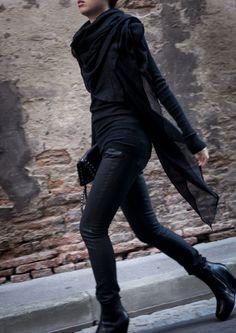 Rock 'n' Roll Style. Saint Laurent Black Waxed Jeans.