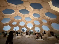 Inspired by a carbon molecule, architects Kristoffer Tejlgaard and Benny Jepsen constructed this Roskilde, Denmark dome from prefabricated timber modules
