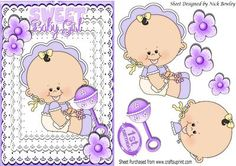 Sweet baby girls 1st Birthday cutting her first tooth on Craftsuprint designed by Nick Bowley - Sweet baby girls 1st Birthday cutting her first tooth, makes a cute baby card, ( lace frames can be seen in my designer resources lots of colours - Now available for download!