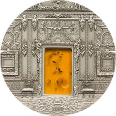 2009 Palau 2 oz $10 silver coin - Mineral Art: The Amber Chamber (Amber insert).