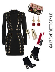 """""""Quirky Chic"""" by lizeverettstyle on Polyvore featuring Dolce&Gabbana, Balmain, Stila and MAC Cosmetics"""
