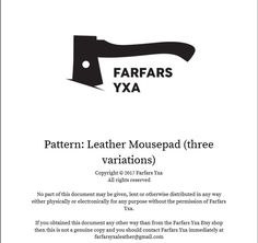 Pattern: Leather mousepad (three variations) by farfarsyxaleather on Etsy