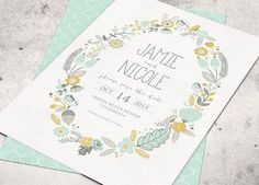 Mint Green Wedding Invitation  The color is just so calm and the flower wreath is just too beautiful. by weddingcard