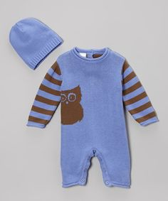 This Purple Stripe Owl Playsuit & Beanie - Infant is perfect! #zulilyfinds