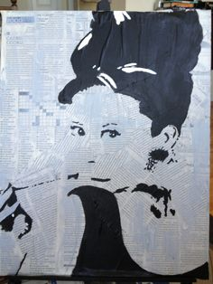 DIY canvas painting - layered with newspaper. Diy Artwork, Ap Art, Diy Canvas, Audrey Hepburn, Paper Mache, Newspaper, Art Projects, Art Ideas, Silhouette