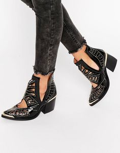 S T Y L E: Jeffrey Campbell Stud Western Leather Heeled Ankle...