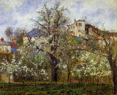 The Vegetable Garden with Trees in Blossom, Spring, Pontoise 1877   Camille Pissarro