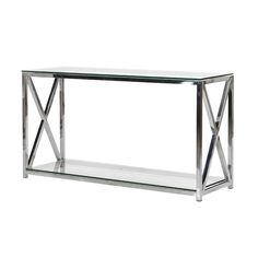 Bringing big city style to contemporary homes, the Boston Chrome Console is a metal and glass console table designed to maintain a feeling of lightness in hallw