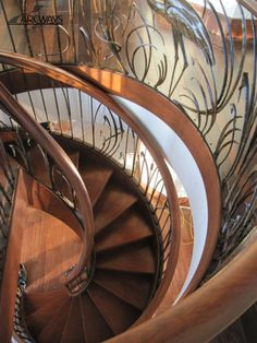Helix Drama Staircase Arcways masterfully executed double helix stacked stairways with two distinctly different hammer forged railing themes. The lower helix, with forged vines & leafs, leads you to the wine cellar below, while the stair above, with indigenous foliage and wildlife, leads you to elevations of panoramic exterior views