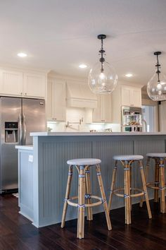 Fixer Upper: A Coastal Makeover for a 1971 Ranch House - Kitchen Decor Themes Kitchen Bar Lights, Kitchen Island Lighting, Coastal Kitchen Lighting, New Kitchen, Kitchen Decor, Kitchen Ideas, Nautical Kitchen, Kitchen Inspiration, Kitchen Designs