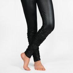 Legging façon cuir plissé