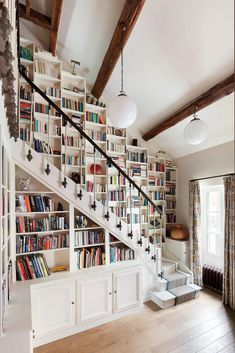 Take a look at our latest collection of interiors featuring 15 Dazzling Eclectic Staircase Designs That Bring Color To The Home. Home Library Rooms, Home Library Design, Home Libraries, Dream Home Design, House Rooms, My Dream Home, House Design, House Interior Design, Library Furniture