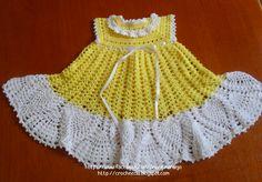 Croche e Cia: Vestido para bebê amarelo e branco
