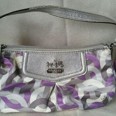 Coach Silver Purple Baguette Wristlet Purse Good Pre-owned Condition! Slight sign of wear consistent with use ton handle. Coach Bags