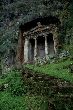 "The distinctive Tomb of Amyntas in Fethiye, Turkey. For a small fee, visitors can climb the stairs and see an amazing view of Fethiye from the ""front porch"" of the tomb. We are definitely stopping here to see the tomb! Abandoned Mansions, Abandoned Buildings, Abandoned Places, Abandoned Castles, The Places Youll Go, Places To Visit, Ancient Ruins, Ancient Tomb, Mayan Ruins"