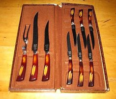 Vintage Glo-Hill Special Bakelite Motif Knifes Set with Box  FREE SHIPPING