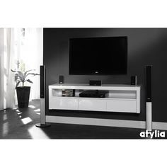 meuble tv design suspendu beatriz blanc brillant