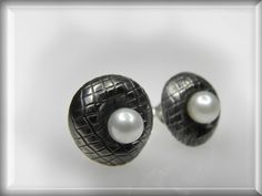 silver studs earrings pearl designer artistic by GENEZAjewelryART, $58.00