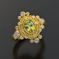 22kt gold granulation ring chrysoberyl diamonds