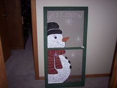 Craft Ideas With Old Windows | Winter WonderLand!. I took an old screen window I found and painted a ...