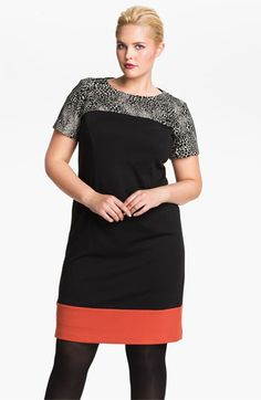 The colorblock trend: Eliza J Colorblock Shift Dress (Plus) available at Nordstrom Dressy Dresses, Plus Size Dresses, Plus Size Outfits, Plus Size Summer Fashion, Plus Size Sewing Patterns, Office Outfits Women, Curvy Girl Fashion, Couture, Mode Style