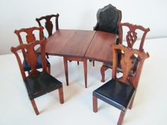Antique Tynietoy Dollhouse Furniture Duncan Phyfe Dining Room Table Chairs Wood | eBay