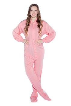 Big Feet PJs Pink Jersey Knit Adult Footie Footed Pajamas with Drop Seat  Onesie Review Knitted 6276aed99