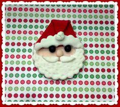 Sweet little Santa Claus Fondant Cupcake Toppers.  Set of 12 (1 dozen)