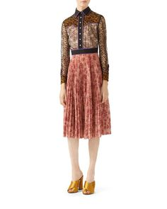 W09UH Gucci Georgette Bonded Lace Dress