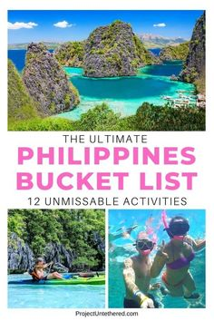 Don't plan your trip without first reading this ultimate Philippines bucket list! Seriously, there are TONS of unforgettable things to do in the Philippines, but most people all go to the SAME 5 destinations and do the SAME 5 activities...Boring! This Philippines bucket list includes those top 5 activities, but ALSO includes secret beaches and other lesser known (but equally as spectacular) places to visit. #philippines #philippinestravel #philippinesbucketlist #travel #southeastasia Philippines Travel Guide, Visit Philippines, Amazing Destinations, Travel Destinations, Holiday Destinations, Asia Travel, Travel Usa, Cool Places To Visit, Places To Travel