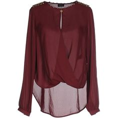 Guess Blouse (245 BRL) ❤ liked on Polyvore featuring tops, blouses, shirts, maroon, red shirt, guess? tops, long sleeve red blouse, studded shirt and guess blouse
