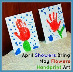 April Showers Bring May Flowers Handprint Art