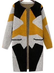Multicolor Long Sleeve Geometric Print Cardigan