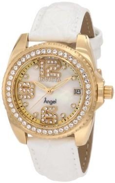 Invicta Womens 1116 Angel Crystal Accented Mother of Pearl Dial Interchangeable Leather Watch -- Continue to the product at the image link.