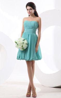 Apfelförmiges trägerlos knielanges Abiballkleid/ Brautjungfernkleid mit Gürtel