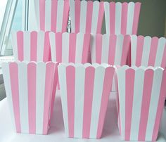 10 Soft pink striped party favour boxes  by SparkleandComfort, $7.50