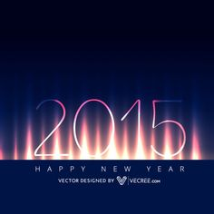 happy new year 2015 on fire flame background vector