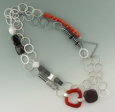 Necklace | Janis Kerman.  Sterling silver, jasper, hematite, onyx and carnelian.