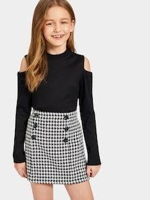 Shop Girls Cold Shoulder Rib-knit Tee and Houndstooth Skirt Set online. SHEIN offers Girls Cold Shoulder Rib-knit Tee and Houndstooth Skirt Set & more to fit your fashionable needs. Teenage Girl Outfits, Girls Fashion Clothes, Dresses Kids Girl, Kids Outfits Girls, Cute Girl Outfits, Tween Fashion, Cute Outfits For Kids, Teen Fashion Outfits, Cute Casual Outfits