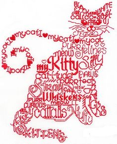 """""""Let's Purr Satin Stitch"""" Designed for 8x10 hoops, this single color #MachineEmbroidery design is made up almost entirely of words all about cats, making it purr-fectly divine for feline fans! It would look sew cute framed, stitched on a tote, pillow and more. ME-OW!"""