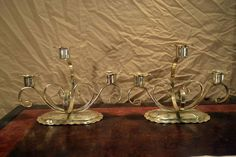 Vtg MID Century SILVER Metal Wrought Iron look 3 Tulip TAPER Candle HOLDER PAIR!