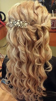 Perfect Curly Prom/Wedding Half Updo Learn How To Grow Luscious Long Sexy Hair… 2015 Hairstyles, Fancy Hairstyles, Down Hairstyles, Braided Hairstyles, Wedding Hairstyles, Hairstyle Ideas, Bridesmaid Hairstyles, Braided Locs, Mohawk Braid